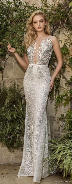 dany mizrachi spring 2018 bridal sleeveless deep plunging v neck full embellishment elegant glamorous fit and flare wedding dress open v back sweep train (23) lv mv -- Dany Mizrachi Spring 2018 Wedding Dresses