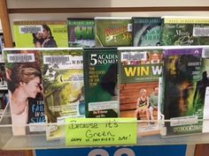 Beacuse it's green Happy St. Patrick's Day display at the Plainville Public Library