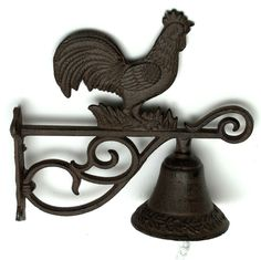 Cast Iron Rooster Bell – Rust