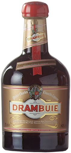 """Drambuie is a sweet, golden coloured 80-proof liqueur made from malt whisky, honey, herbs, and spices. Produced in Broxburn, West Lothian, Scotland, serve straight, on the rocks, or add to mixed drinks such as the Rusty Nail. The name """"Drambuie"""" may derive from the Scottish Gaelic phrase an dram buidheach, meaning """"the drink that satisfies"""", or possibly an dram buidhe meaning """"the red drink"""". Drambuie received the highest score, a """"96-100"""", in the Wine Enthusiast's 2008 spirit competition."""