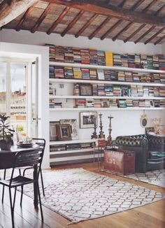 Apartment in Rome. Love the vintage look and the Moroccan Beni Ourain rug.