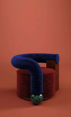 History Of Modern Art, Emperador Marble, Cool Chairs, Lounge Chairs, Asymmetrical Design, Cotton Velvet, Modern Materials, Walnut Wood, Furniture Design