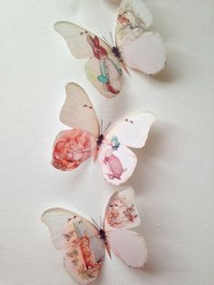 3D Butterfly Wall Art Totally Unique 4 3D Beatrix Potter & Friends Butterflies Bedroom Nursery Home Accessories Soft Cream Pastel Butterflies