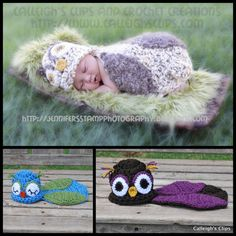 Multiple owl crocheted baby outfits