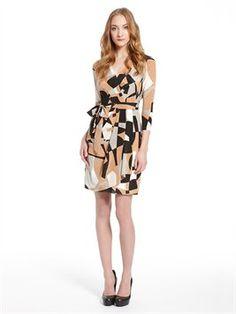 Faux Wrap Dress With Self Belt