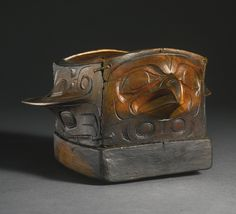 Tlingit Bent-Corner Wood Bird Effigy Bowl, Alaska or Canada - wood. 9 3/4in. length by 9 in. width by 5 5/8in. height