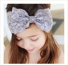 Bonito menina crianças Hairbow Headbands turbante rendas Hairband Headwear bebê acessórios de cabelo(China (Mainland))