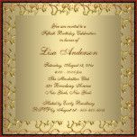 Elegant gold and gold swirl flourish with pearl center jewel woman's gold fiftieth birthday party invitation. This beautiful gold 50th birthday party invitation is easily customized for your event by simply adding your details in the font style and wording of your choice.