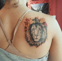 Latest Lion Tattoo Designs for Boys & Girls - Cross Tattoos For Women, Tattoo Designs For Women, Tattoos For Women Small, Small Tattoos, Lion Tattoo Meaning, Tattoos With Meaning, Girly Tattoos, Body Art Tattoos, Lion Back Tattoo