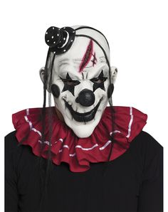 Horror Clown Mask - Clowns are always creepy but it's even worse when they are dead. Create the evil clown character of your choice and complete your costume with this la Scary Clown Face, Gruseliger Clown, Scary Clown Makeup, Clown Horror, Clown Faces, Scary Faces, Circus Clown, Scary Clown Costume, Creepy Smile