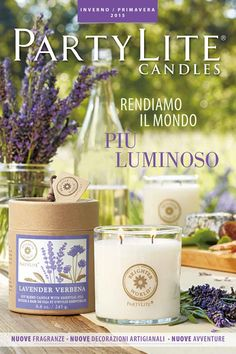 Inverno/Primavera 2015 Partylite Catalogue, Candle Jars, Candles, Shops, New Catalogue, Verbena, Place Cards, Place Card Holders, Table Decorations