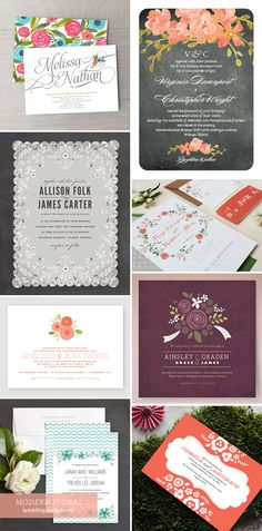 A collection of modern floral wedding invitation inspiration featuring styles from bold and painterly to stylized and folksy.