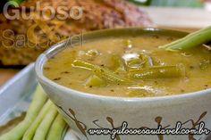 Aqui está a Sopa Creme de Vagem, tem um gostinho especial, é uma saborosa entrada ou refeição leve, 54,6 kcal por cada 200 ml (2 conchas)!  #Receita aqui: http://www.gulosoesaudavel.com.br/2013/10/16/sopa-creme-vagem/
