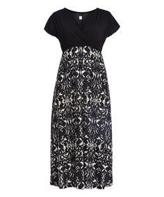 Black & White Geometric Empire-Waist Maxi Dress - Plus | zulily