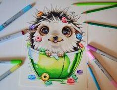 Cute Colored Fantasy Animal Drawings : Baby Hedgehog by Lisa Saukel Copic Marker Art, Copic Art, Copic Markers, Copic Drawings, Kawaii Drawings, Drawing Sketches, Amazing Drawings, Beautiful Drawings, Cute Animal Drawings