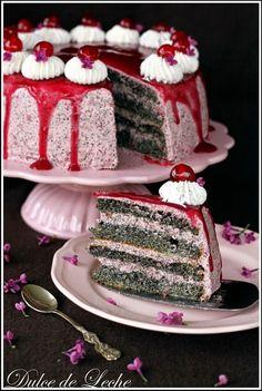 Cherry poppy seed cake (no flour) - Dulce de Leche Lava Cakes, Poke Cakes, Cupcake Cakes, Cupcakes, Pie Recipes, Sweet Recipes, Dessert Recipes, Cooking Recipes, Fudge Cake