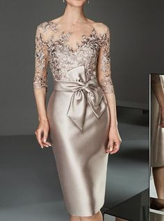 Women's Slim Bodycon Dress - Solid Colored Boat Neck Lace Gold S M L XL Source by brigitteholzheu dresses evening Mother Of Bride Outfits, Mother Of Groom Dresses, Mother Of The Bride, Bride Dresses, Dresses For Women, Party Dresses, Lace Dresses, Dress Lace, Satin Tulle