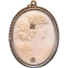 Antique Coral Cameo pendant, silver 800, 19th century from akaham on Ruby Lane