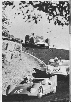 1961 Pacific Grand Prix at Laguna Seca Roger Penske (16-Telar Cooper Monaco) pursued by Olivier Gendebien (10-Lotus Climax Monte Carlo) and George Koehne (11-Maserati Tipo 61) Read about it at http://www.carsandracingstuff.com/library/articles/22737.php