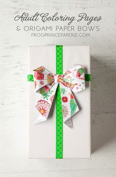 turn adult coloring pages into origami paper bows for holiday gift giving