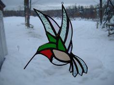 hummingbird flat, stained glass suncatcher