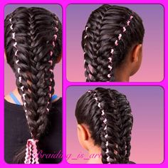 Two Four Strand Braids with Ribbons with a French Braid down the middle.