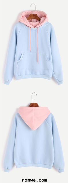 Light Blue Raglan Sleeve Contrast Hood 2 In 1 Sweatshirt