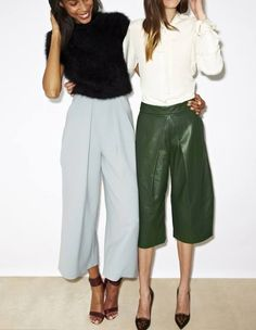 70s silhouettes in culottes and flared trousers