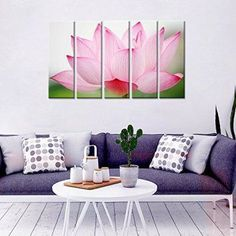 Create a relaxing refuge in your home with lotus flower wall art. You can use lotus flower wall decor in any room of your home but especially bedrooms, living rooms and bathrooms.  Although I love it in my office.  You can find cute lotus flower clocks, lotus flower wall tapestries, lotus flower wall decals, lotus flower wall murals that loook cute. Wall Mantra Lotus Home Decorative 5 Panel Canvas Wall Art Photo Painting