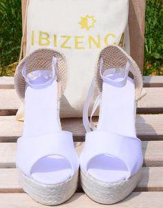 STATION Peep Toe chaussures compensées Espadrilles coton bio