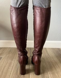 Vintage oxblood leather platform over-the-knee zip-up Chain Crossbody Bag, Oxblood, Quilted Leather, Over The Knee Boots, Riding Boots, 1970s, Zip Ups, Heels