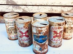 Old Rusty Grungy Beer Can Salvage Lot, Found Object Assemblage Supply, Altered Art Supply, Vintage Lucky Lager Can Olympia Beer Cans Rusty Metal, Shadow Box, Altered Art, Garden Art, Unique Jewelry, Handmade Gifts, Etsy, Vintage, Kid Craft Gifts