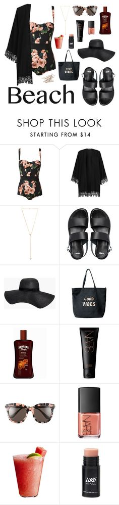 """Contest: Beach Day"" by shattered-masterpiece ❤ liked on Polyvore featuring Dolce&Gabbana, Joolz by Martha Calvo, ASOS, Boohoo, Venus, NARS Cosmetics, Gentle Monster and Disney"