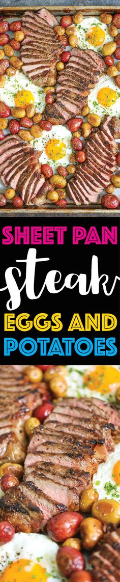 Sheet Pan Steak Eggs and Potatoes Everyone's favorite steak and eggs turned into a complete SHEET PAN BREAKFAST! No fuss no extra pans and easy clean up! The post Sheet Pan Steak Eggs and Potatoes appeared first on Tasty Recipes. Brunch Recipes, Breakfast Recipes, Dinner Recipes, Breakfast Ideas, Paleo Breakfast, Steak Breakfast, Dinner Ideas, Sheet Pan Suppers, Macro Meals