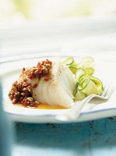 Cod with Sun-dried Tomato, Capers and Pumpkin Seed Pesto (cheese-free, cream-free, switch butter to grapeseed or coconut oil) Fish Recipes, Seafood Recipes, Cooking Recipes, Food In French, Ricardo Recipe, Potato Rice, Healthy Grains, Healthy Sugar, My Best Recipe