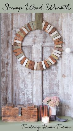 A simple DIY tutorial for making a scrap wood wreath by Finding Home Farms Scrap Wood Crafts, Scrap Wood Projects, Rustic Crafts, Rustic Decor, Woodworking Projects, Diy Projects, Diy Crafts, Wood Wreath, Diy Wreath