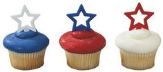 Patriotic Star Shaped Cupcake Picks Red, White and Blue