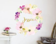 floral-bouquet-own name wall decal flowers your decal shop nz wall art wall sticker