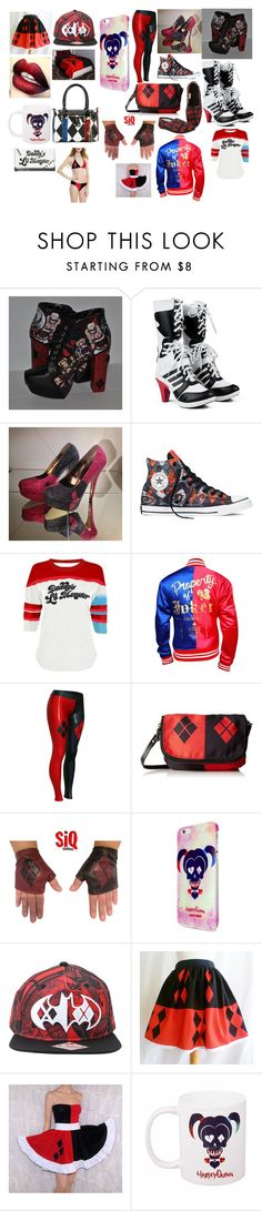 """""""harley quinn"""" by lauren-hemings-1 ❤ liked on Polyvore featuring Converse Super Hero shirts, Gadgets"""