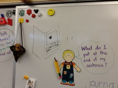 The Pre-Kindergarten students are learning that when you add a period to the end of a sentence it tells the reader that is the end of your thought and to stop and take a breath.