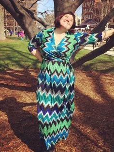 #gwynniebee member Kate in the NY Collection ZigZag Print Faux Wrap Maxi Dress