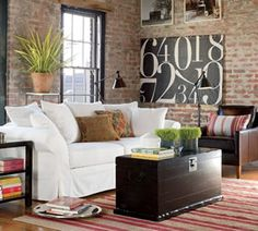 wall art, interior, living rooms, couch, numbers, loft, bricks, exposed brick, pottery barn