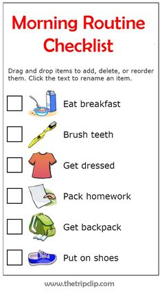 Make Your Own List: Mobile or Printed Get organized with this drag and drop morning routine checklist. The pictures make it easy for big and little kids to know what needs to be done next. And you will stop being a drill sergeant shouting out orders! Morning Routine Chart, Morning Routine Kids, Morning Routine Checklist, After School Routine, Kids Checklist, School Routines, Bedtime Routine, Daily Routines, Chore Chart Kids