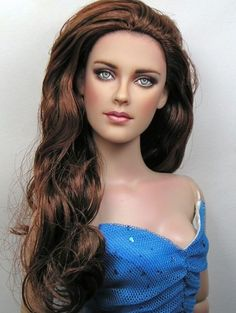 About Kristen Stewart: I have repainted this New Moon Twilight Bella Swan doll to accurately capture the likeness of Kristen Stewart.. OOAK Doll Repaint by Artist Pamela Reasor.