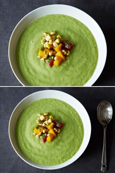 Chilled Cucumber and Avocado Soup with Mango Salsa - This is one of my favorite cold soups for the summer. If cucumber's not your thing, you can prepare this soup with zucchini, tomato, celery, or a combination of all of those vegetables. Avocado is a perfect base for an easy soup like this, and it will give you a canvas that is endlessly adaptable. Vegan, Gluten Free and Raw.