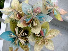 Vintage Map Recycled Book Paper Flowers