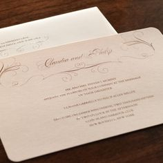 Dolce Wedding Invitation :: Shimmering bits of gold in an earthy pink paper create a gorgeous background for your invites.