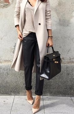 summer outfits Grey Coat + Grey Knit + Black Pants