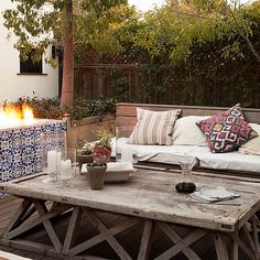 Beautiful blue and white tiles a rustic coffee table, patio backyard outdoor space Outdoor Rooms, Outdoor Living, Outdoor Furniture Sets, Outdoor Decor, Hacienda Style Homes, Love Home, Decoration, Living Spaces, Kings Lane