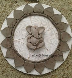 My first Clay Work Clay Wall Art, Ceramic Wall Art, Mural Wall Art, Mural Painting, Framed Wall Art, Murals, Clay Ganesha, Ganesha Art, Ganesh Idol